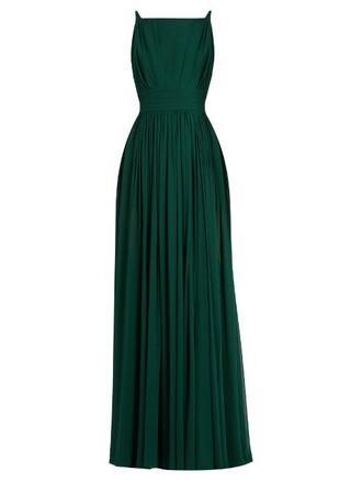 gown sleeveless silk green dress