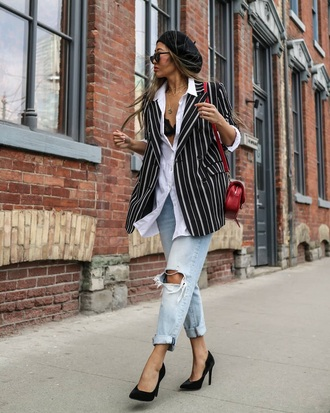 jacket blazer striped blazer shirt white shirt denim ripped jeans beret hat pumps jeans high heel pumps