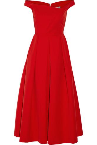 dress midi dress pleated midi red