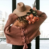 sweater,pink sweater,oversized sweater,oversized,hat,straw hat,lace up