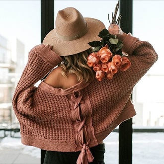 sweater pink sweater oversized sweater oversized hat straw hat lace up