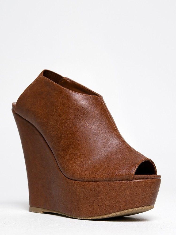 New madden girl wallup women peeptoe slingback wedge heel sandal brown sz cognac