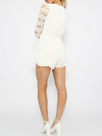 Choies Design Limited White Angel Romper Playsuit With Lace Sleeves - Choies.com