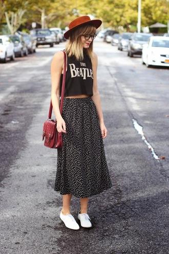 skirt indie band t-shirt midi skirt shirt hat