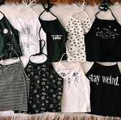 shirt,black shirt,white shirt,indie,grunge,doodle,80s style,t-shirt,top,black,weird,cat eye,stripped,eyes,image print,planets,hipster,tank top,white,cats,space,moon,stripes,black and white,stayweird