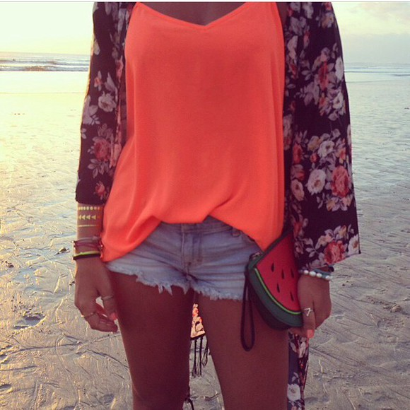 boho bag top hippie tank top orange tank top orange fluo blouse kimono floral flowers flowered kimono watermelon print handbag funny bag funny shorts denim shorts denim bottom shoes red cardigan