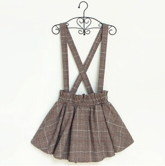 skirt plaid grey fashion style cute kawaii girly skirt with suspenders japanese fashion asian back to school teenagers dress