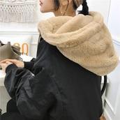 jacket,girly,black,bomber jacket,fur,fur jacket,fur hood jacket