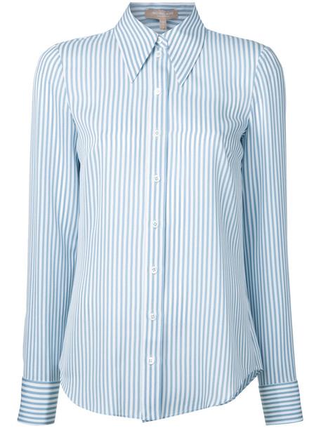 Michael Kors shirt striped shirt women white silk top