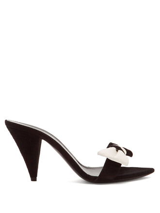 bow embellished mules suede white black shoes