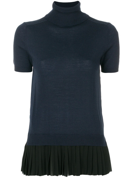 P.A.R.O.S.H. blouse pleated women blue wool top