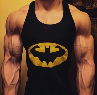 tank top black guys workout batman muscle tee
