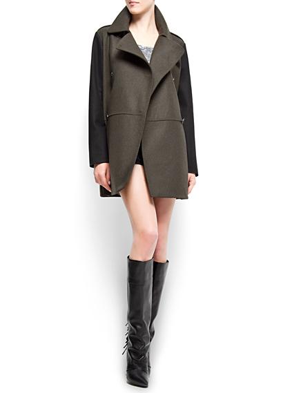 MANGO - CLOTHING - Coats - Contrast sleeves masculine coat