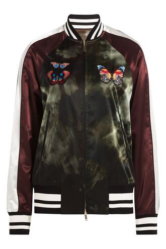 jacket bomber jacket satin bomber butterfly satin multicolor