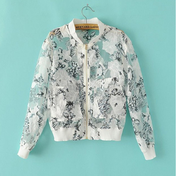 transparent top jacket floral jacket