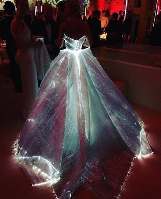 dress cinderella pink white led tumblr pretty sparkle light up dress colorful neon light