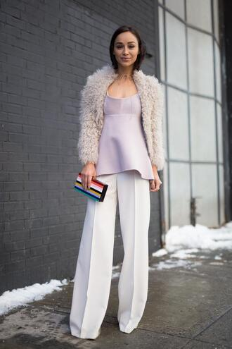 pants nyfw 2017 fashion week 2017 fashion week streetstyle white pants wide-leg pants grey top top peplum top jacket white jacket white fur jacket fur jacket bag