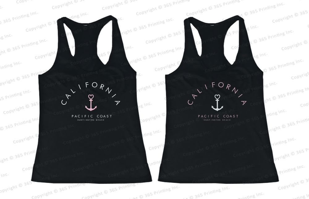 Best Friend Summer Beach Tank Tops California Pacific Coast Huntington Beach | eBay