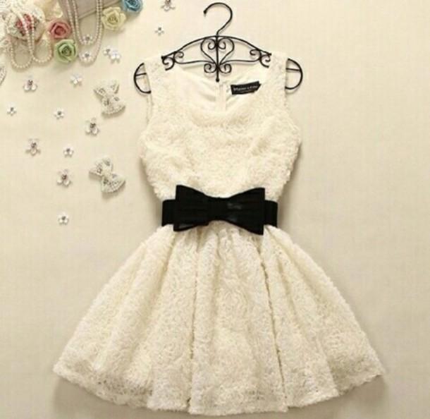 white dress black dress bows lace dress dress white black beautiful short dress