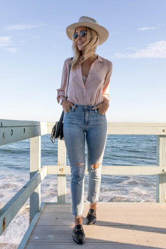 blondecollective blogger top jeans hat sunglasses bag shoes loafers shoulder bag summer outfits pink shirt