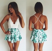 romper,jumpsuit,green and white jumpsuit,dress,crossed back,backless dress,white,blue,turquoise,green,white low neck,low back dress,criss cross back,green bottom,blackless romper,floral,white lace,lace,white romper,white lace top,lace romper,beautiful,summer,spring,pattern,lovely,open back,stylish,fabulous,beach,girly,cute rompers,boho
