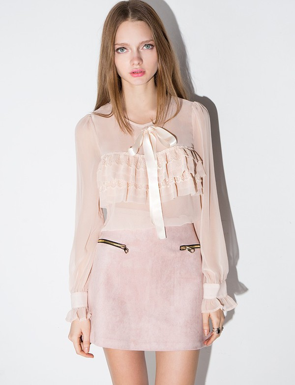 Dusty Pink Suede Zipper Mini Skirt - Suede A Line Skirt