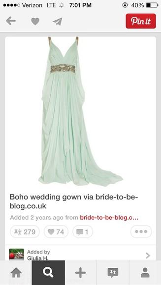 mint dress prom dress boho chic
