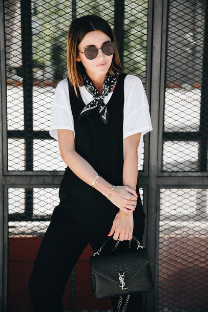 Jumpsuit Tumblr Black Jumpsuit T Shirt White T Shirt Bandana