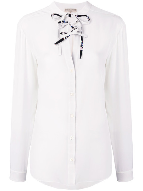 Emilio Pucci blouse bow women embellished white silk top
