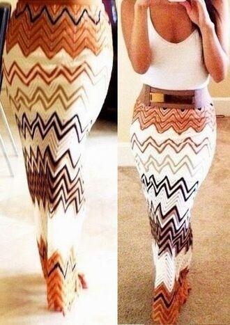 skirt brown maxi crochet white