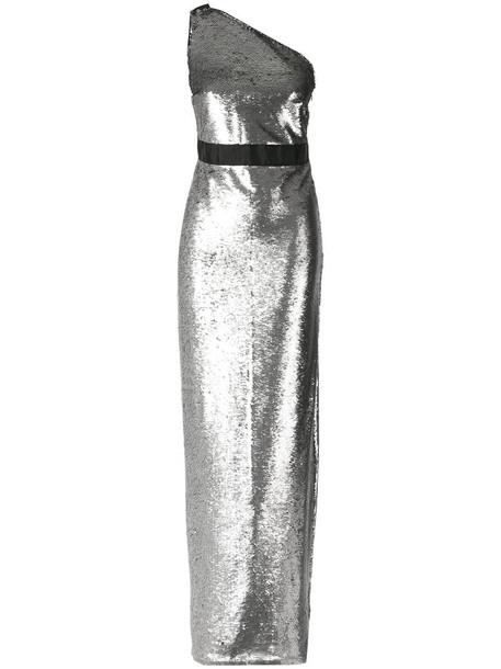 Tufi Duek gown women grey metallic dress
