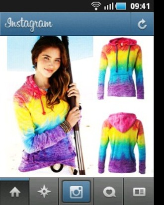 sweater hoodie rainbow rainbow hoodie rainbow sweater color/pattern colorful colorful sweater colourful sweater red blue green yellow purple pink orange