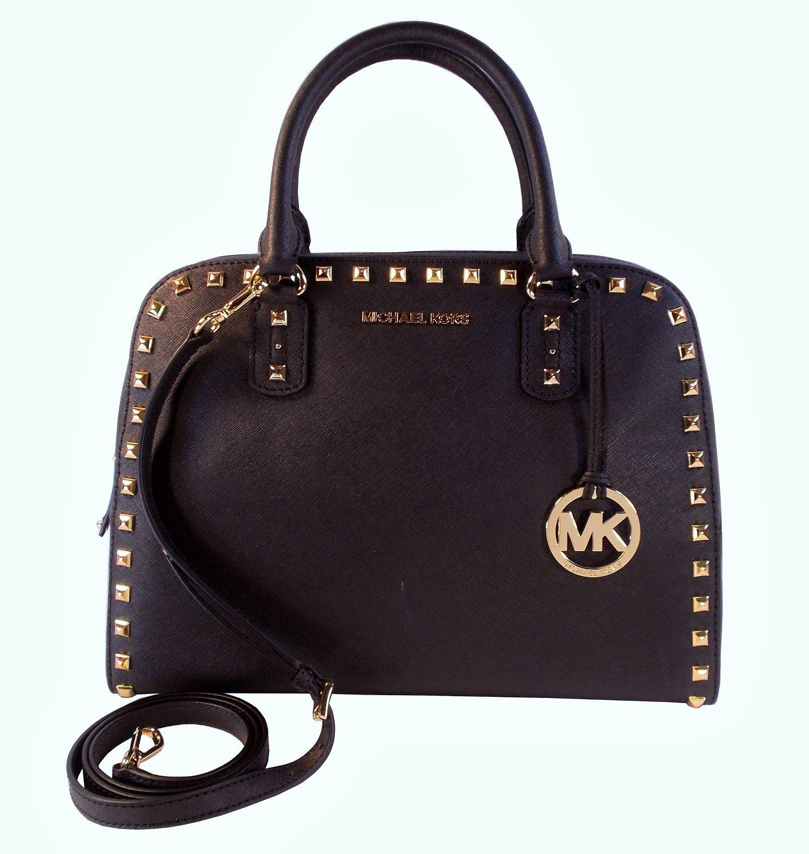 b955fe7f599c ... promo code for michael kors saffiano stud large satchel black handbags  amazon 59b17 75844
