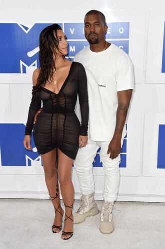 dress vma kanye west kim kardashian kim kardashian dress kim kardashian style kardashians mini dress little black dress black dress mesh mesh dress long sleeve dress sexy dress black sexy dress sexy party dresses party dress sandals sandal heels high heel sandals black sandals v neck dress