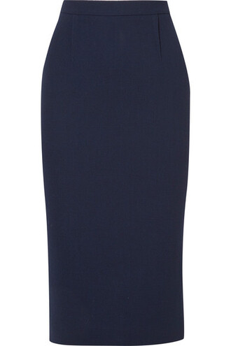 skirt pencil skirt navy wool