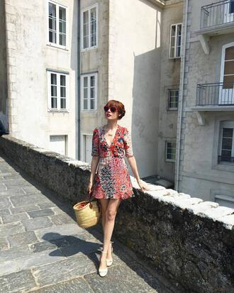 dress french girl mini dress printed dress v neck v neck dress bag woven bag sunglasses red sunglasses