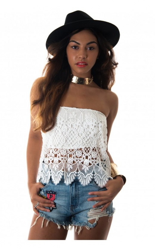 Limited edition white crochet strapless top