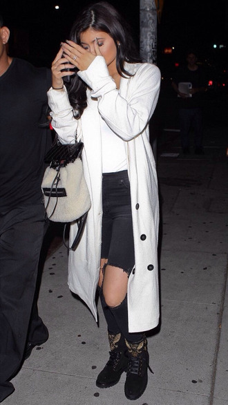 coat jeans ripped jeans kylie jenner duster coat