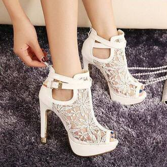 shoes rose wholesale white lace heels high heels style instagram chic fashion