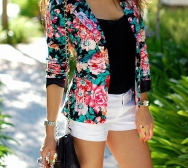 coat floral shorts tank top