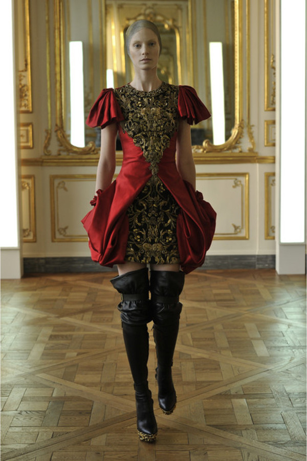dress alexander mcqueen silk satin red