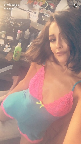 jumpsuit romper olivia culpo blue pink underwear camisole pajamas lace onesie lace pyjamas pyjama shorts