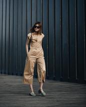 jumpsuit,brown jumpsuot,bag,shoes,sunglasses,sandals,black bag
