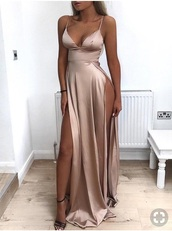 dress,prom,nude,nude dress,homecoming dress,prom dress,pretty,flowy,secy dress,long prom dress