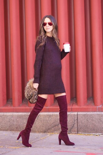 dress winter date night outfit date outfit winter outfits burgundy dress burgundy boots thigh high boots over the knee boots high heels boots bag furry bag sunglasses mirrored sunglasses mini dress sweater dress shoes