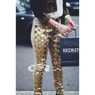 pants gold sequins mermaid glitter fall outfits summer shorts