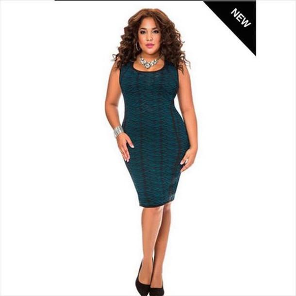 Dress Teal Plus Size Curvy Black Midi Dress Wheretoget