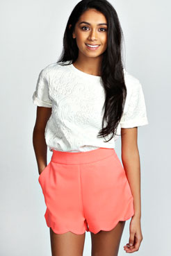 Tora Scalloped Hem Waisted Shorts at boohoo.com