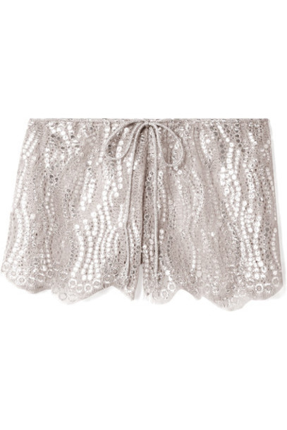 Miguelina shorts lace shorts metallic lace silver