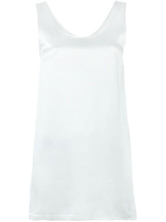 tank top top long women white silk